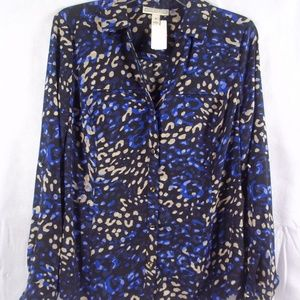 Dana Buchman Career Wear Blue Print Blouse Sz MED
